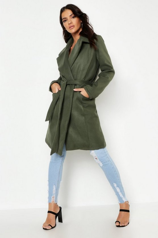 Womens Khaki Belted Wool Look Coat