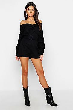 Linen Mix Belted Paperbag Shorts