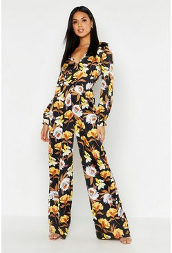 Womens Black Floral Button Detail Jumpsuit
