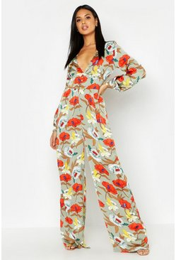 Womens Sage Floral Button Detail Jumpsuit