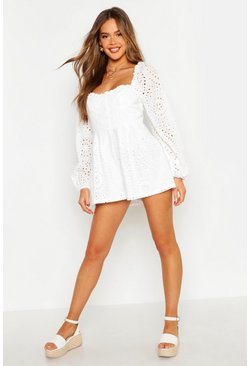 White Broderie Sweetheart Button Playsuit