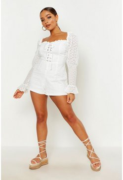 White Broderie Eyelet Lace Up Romper