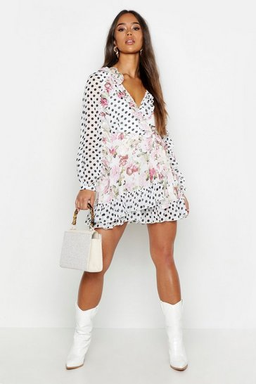 Womens White Mix Print Floral Polka Dot Ruffle Wrap Playsuit