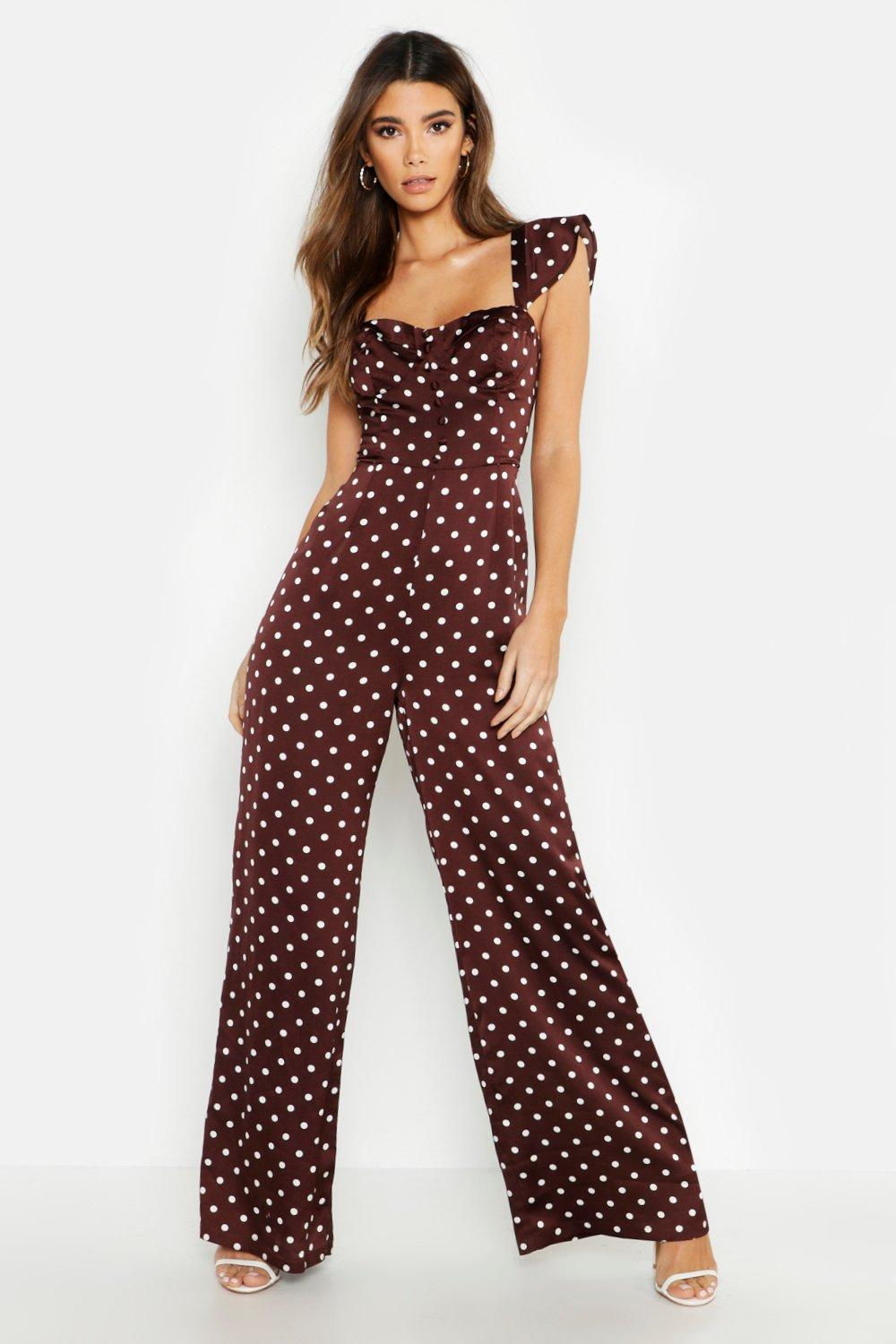 74239eb03998 Polka Dot Satin Sweetheart Button Jumpsuit. Hover to zoom