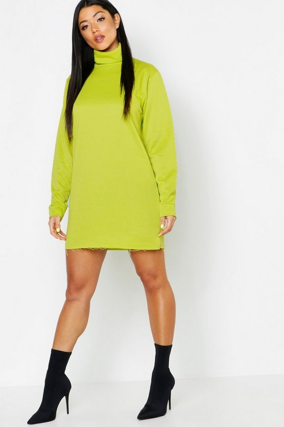 Roll Neck Neon Sweatshirt Dress