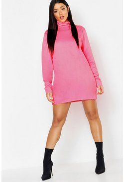 Womens Neon-pink Roll Neck Neon Sweatshirt Dress