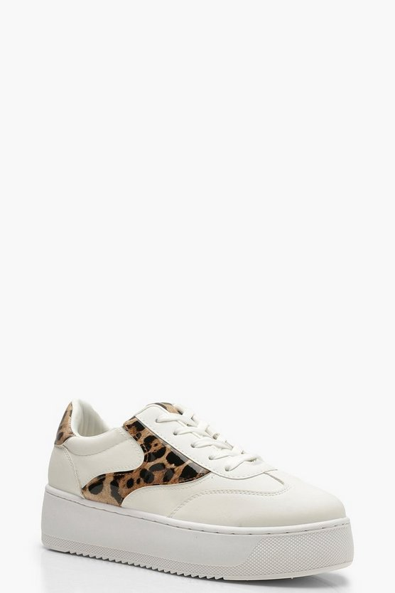 Womens White Leopard Panel Platform Sneakers