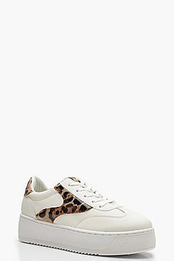 Leopard Panel Platform Sneakers