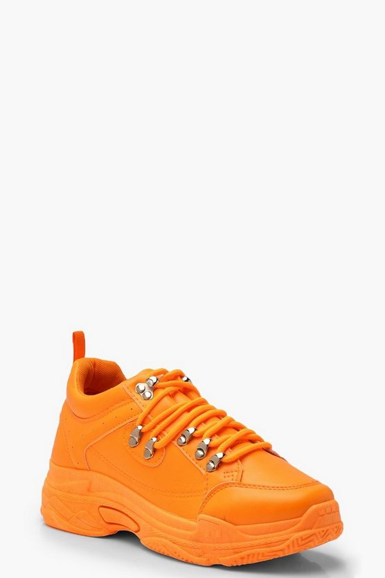 Womens Orange Neon Lace Up Chunky Hiker Sneakers