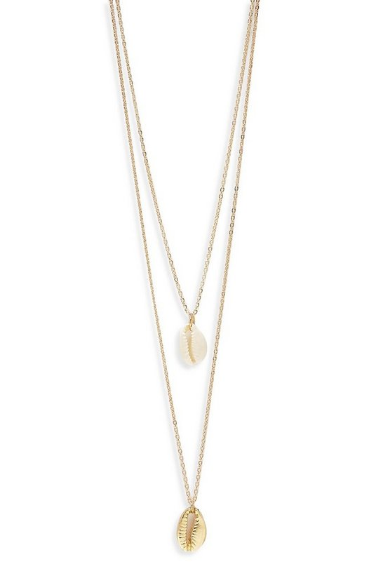 Womens Natural & Gold Shell Layered Necklace