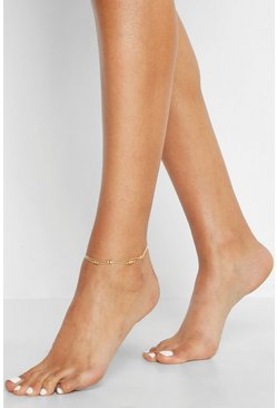 Womens Gold Bead Double Chain Anklet