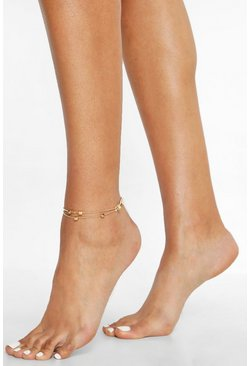 Womens Gold Cube Pendant Double Chain Anklet