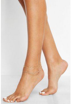 Womens Gold Circle Link Chain Anklet