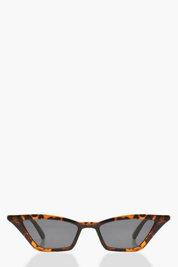 Womens Brown Tortoiseshell Point Cat Eye Sunglasses