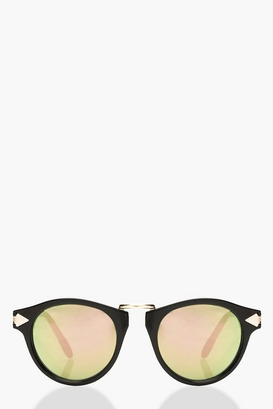 Womens Black Mirrored Lens Contrast Gold Round Sunglasses