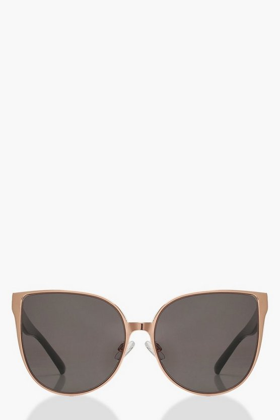 Womens Black Oversized Retro Frame Sunglasses