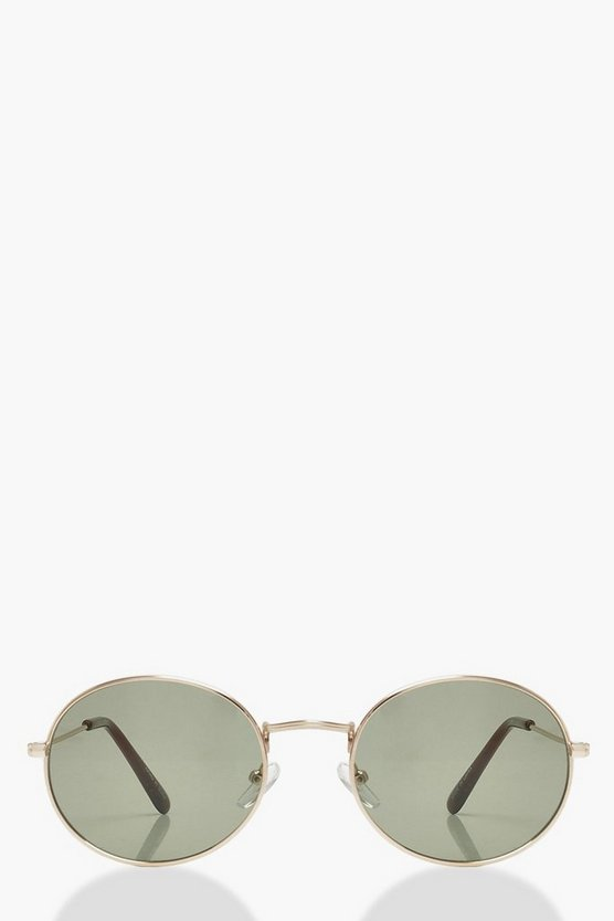 Gold Temple Smoke Lens Round Sunglasses