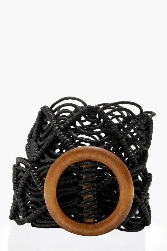 Womens Black Wooden Buckle Macrame Belt