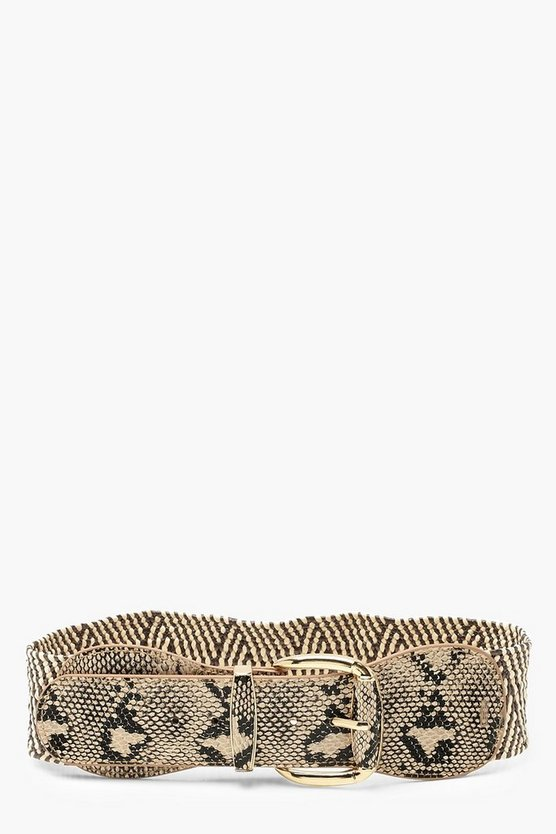 Womens Natural Straw + Faux Snake Waist Belt