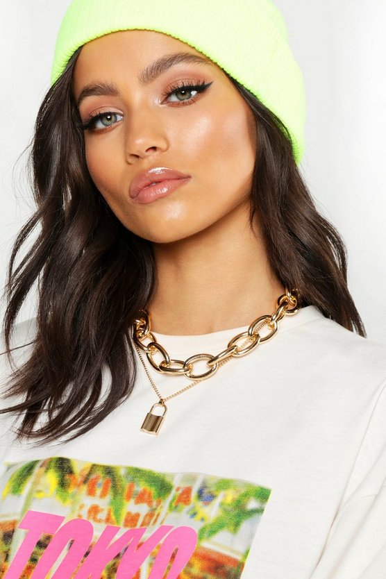 Gold Chunky Chain & Padlock Layered Necklace