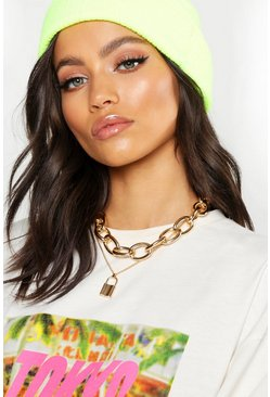 Womens Gold Chunky Chain & Padlock Layered Necklace