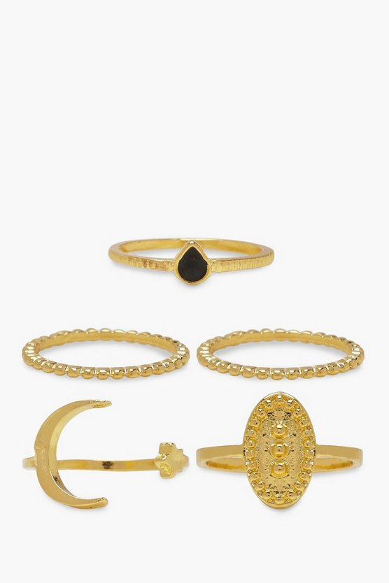 Womens Gold Moon Star & Sovereign Ring Pack