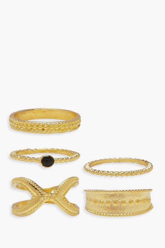 Gold Ball & Twist Chain Ring Pack