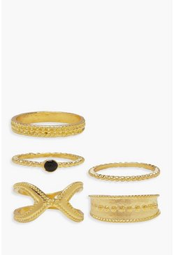Womens Gold Ball & Twist Chain Ring Pack