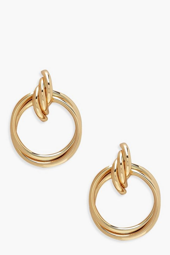 Womens Gold Double Ring & Twist Drop Earrings