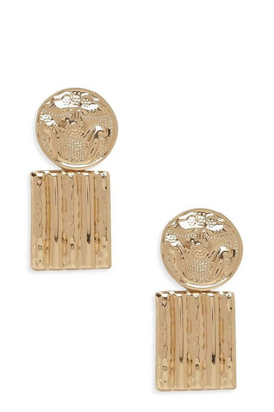Womens Gold Circle & Square Ridge Statement Earrings