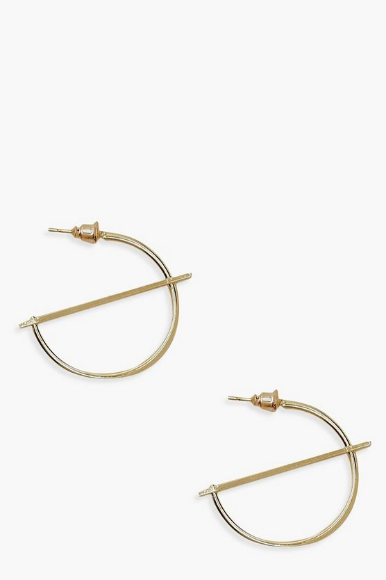 Womens Gold Hoop & Horizontal Bar Cross Earrings