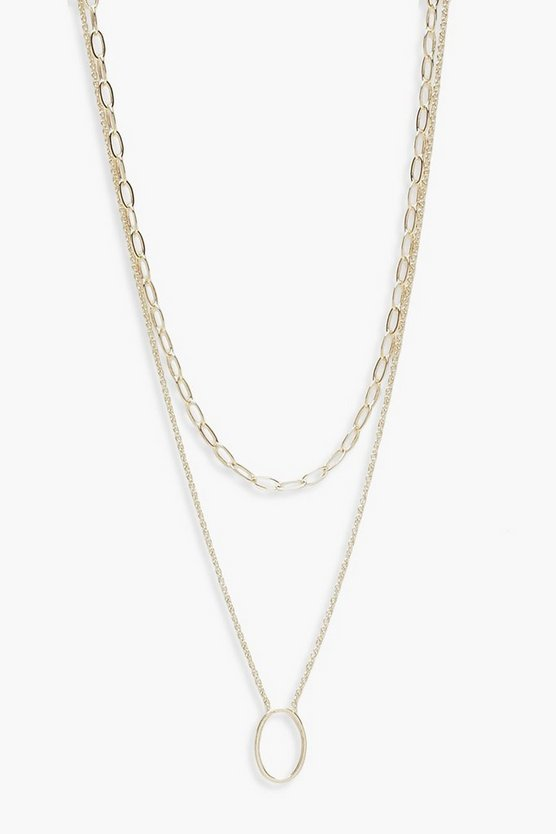 Womens Gold Chain Choker And Oval Layered Necklace