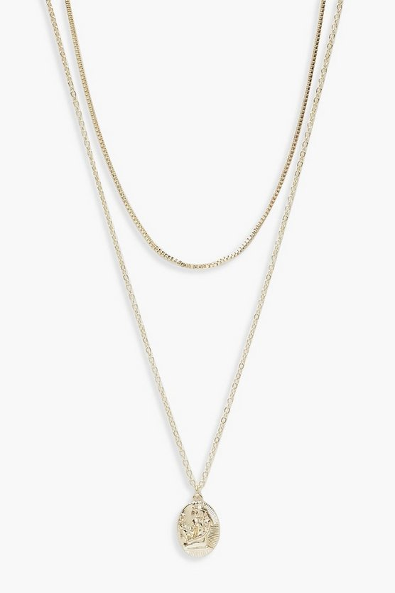 Womens Gold Simple Choker And Oval Coin Layered Necklace
