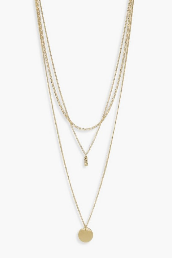 Womens Gold Circle And Chain Simple Layered Necklace