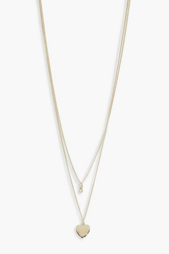 Womens Gold Heart And Diamante Simple Layered Necklace