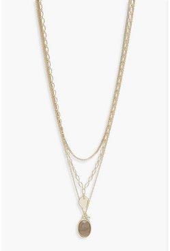Womens Gold Chain And Stone Layered Necklace