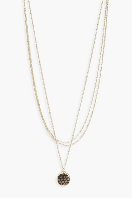 Womens Circle Pendant Simple Layered Necklace