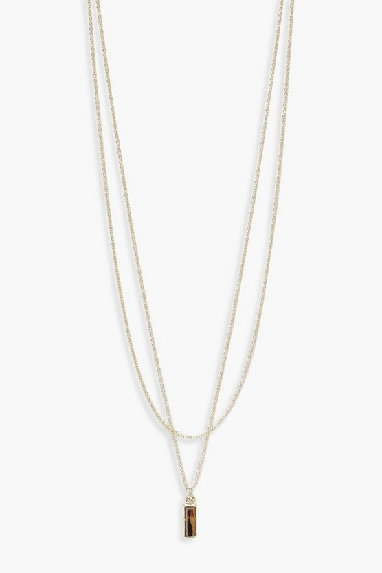 Womens Gold Tortoiseshell Tab Layered Necklace