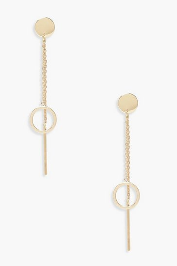 Gold Circle Drop & Double Chain Earring
