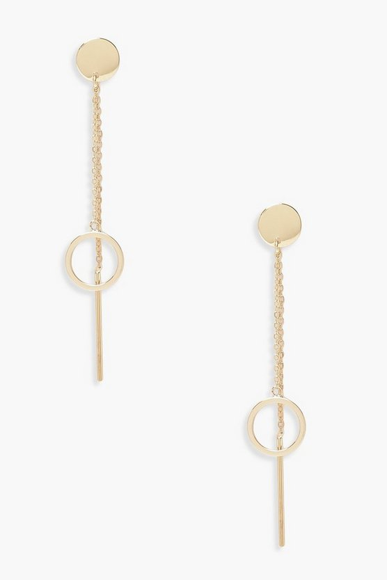 Womens Gold Circle Drop & Double Chain Earring