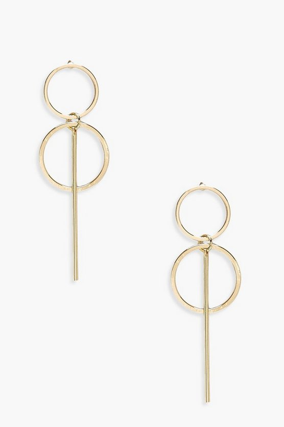 Womens Gold Double Circle & Bar Drop Earring