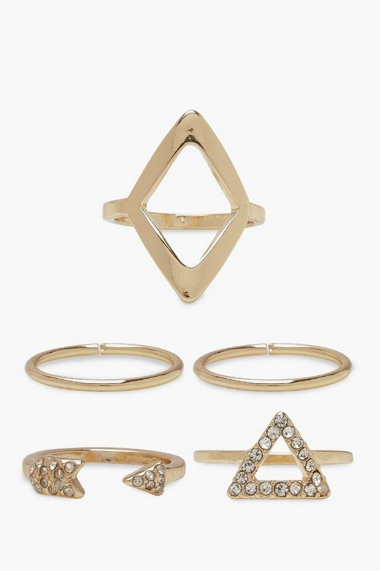 Womens Gold Triangle & Arrow Ring Pack