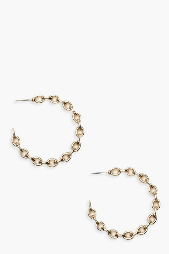 Womens Gold Chain Linked Hoop Earrings
