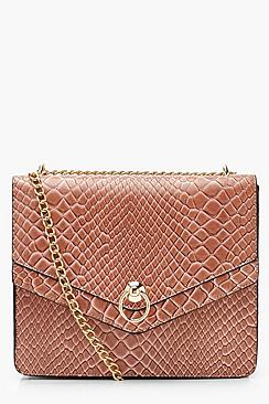 Structured Faux Snake Ring Cross Body