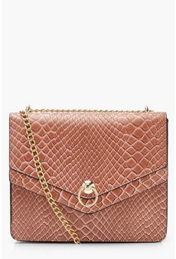 Womens Pink Structured Faux Snake Cross Body Bag