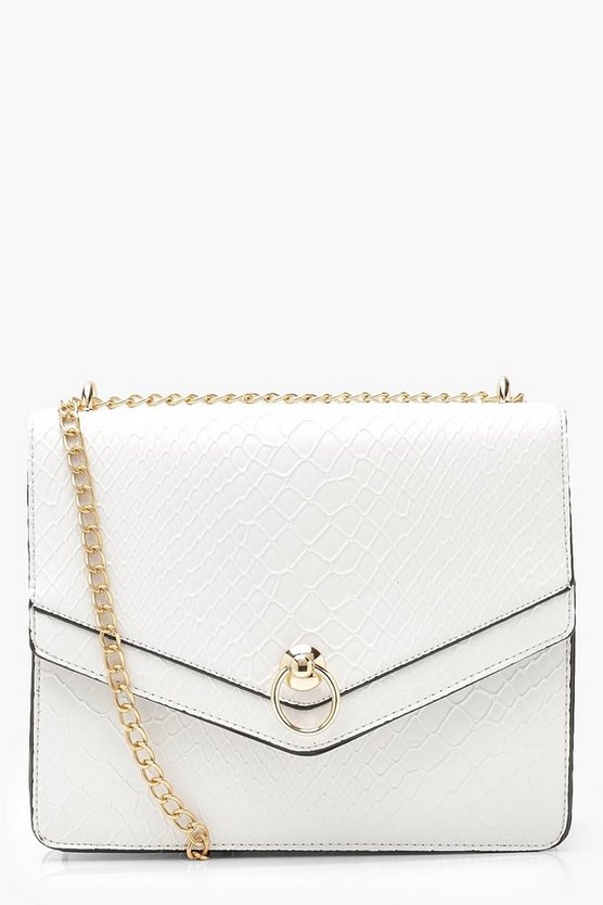 Womens White Structured Faux Snake Cross Body Bag