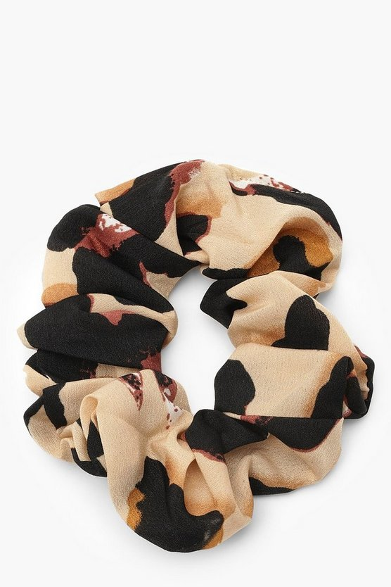 Womens Natural Satin Leopard Print Scrunchie