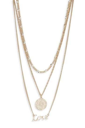 Womens Gold Love & Sovereign Coin Layer Necklace