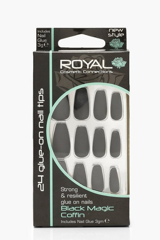 24 Black Magic False Nails With Glue