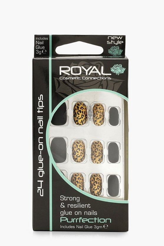 24 Animal Print False Nails With Glue
